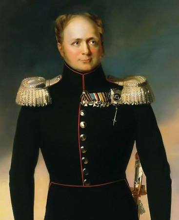 Alexander I, emperor of Russia, son of Paul I and Maria Fyodorovna, husband of Princess Luise Marie Auguste of Baden, brother of Nicholas I, hero of the Patriotic War of 1812 against Napoleon, painted by George Dawe for the Military Gallery of the Winter Palace 1824