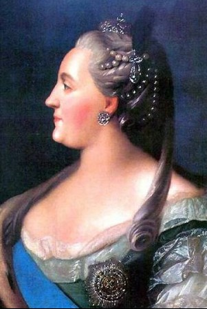 Catherine the Great, empress of Russia, born Princess Sophie Auguste Friederike of Anhalt-Zerbst, wife of Peter III, mother of Paul I, grandmother of Alexander I and Nicholas I, painted by Fyodor Rokotov 1763